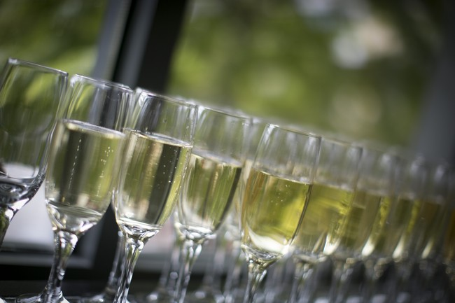 glasses of champagne at wedding