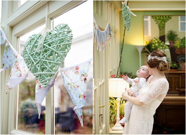 diy wedding, wicker heart painted blue, bunting wedding decor, diy vintage wedding