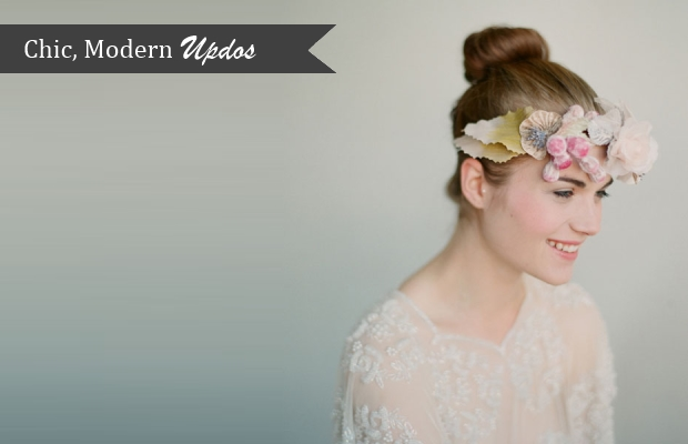 top knot wedding updo flowers crown