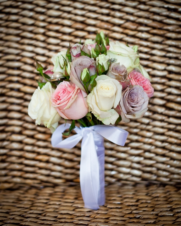 vintage style hand tied pink purple rose wedding bouquet
