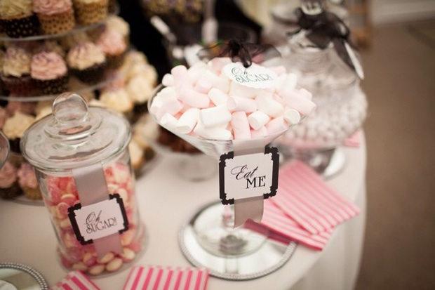Candy buffet table pink