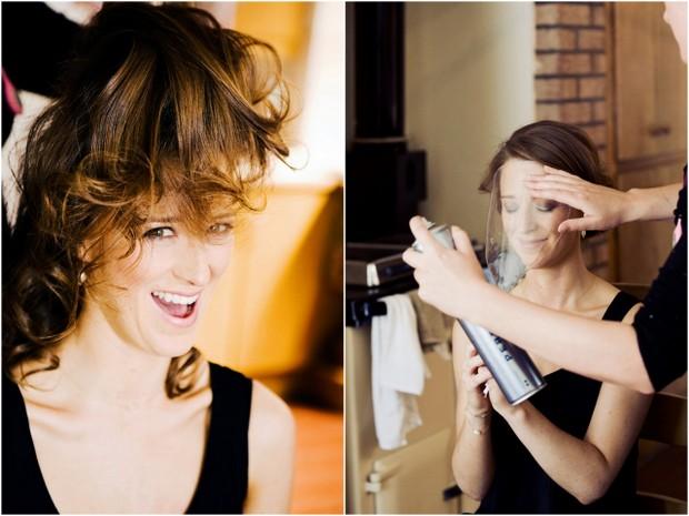 Bridesmaids and bride having hair done