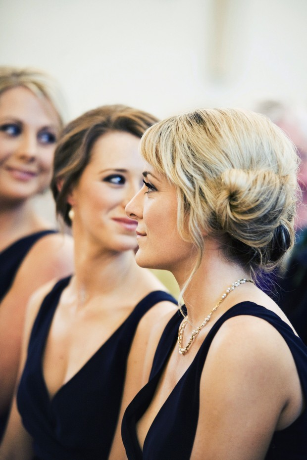 bridesmaid rolled up do wedding hair