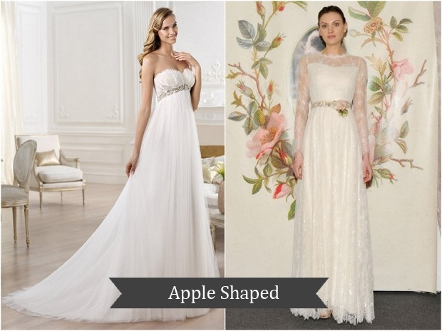 Plus Size Wedding Dresses For Apple Shape Straps Prom