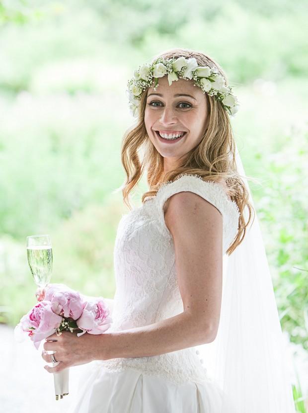 green white fresh flower crown bride wedding hairstyle