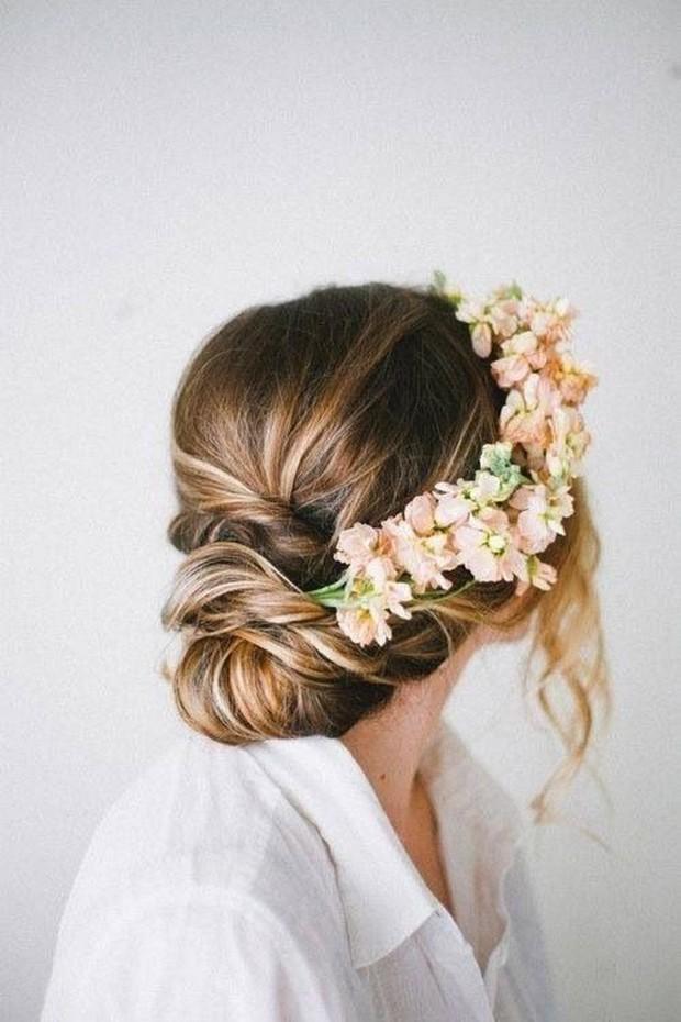 chignon low bun wedding hairstyle 2014 fresh flowers