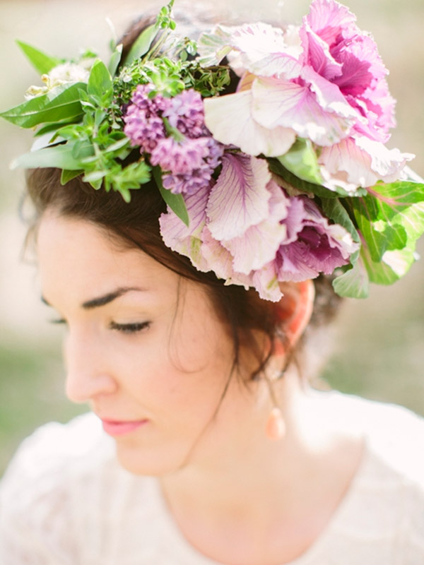 pink purple fresh floral crown bride wedding hairstyle