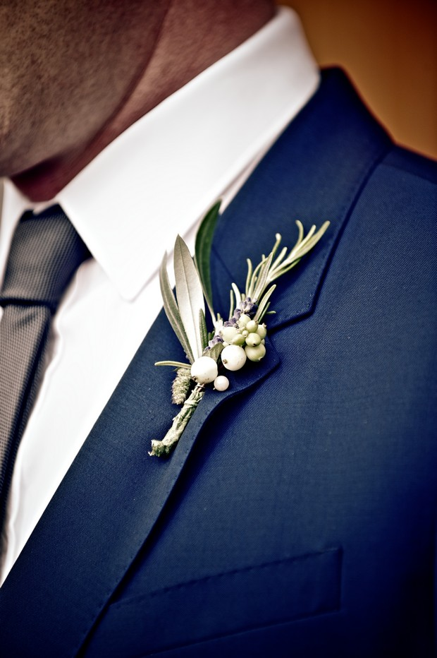 navy green groom boutonnaire button hole