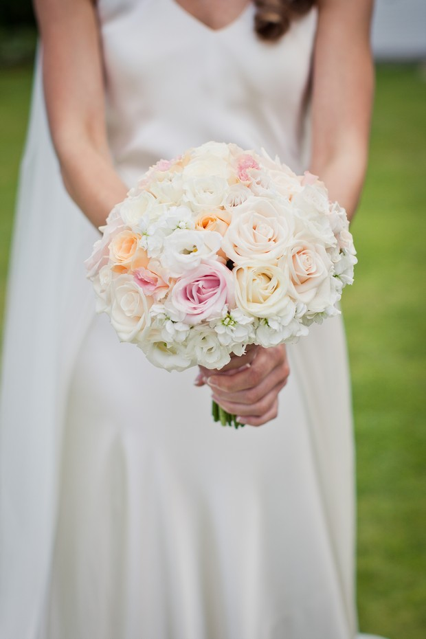 white pink orange wedding bouquet