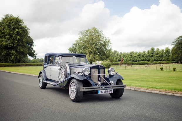 classic blue navy wedding car ireland