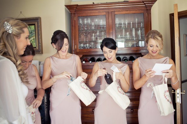 bridesmaids receiving gift