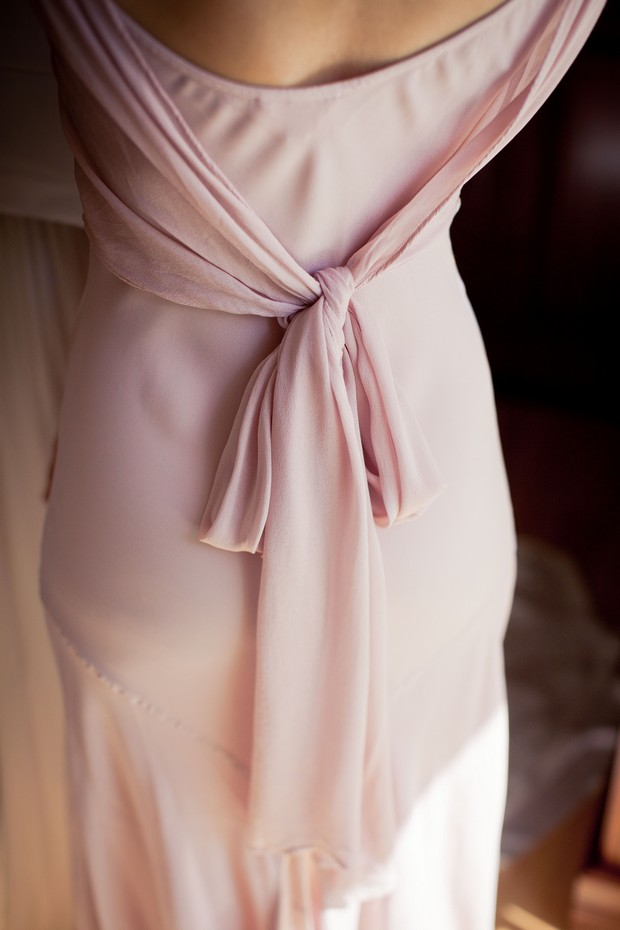 detail back pink bridesmaid dress