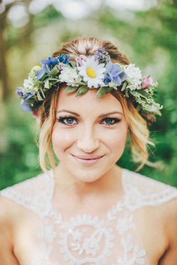 boho blue daisy wedding flower crown wedding hairstyle