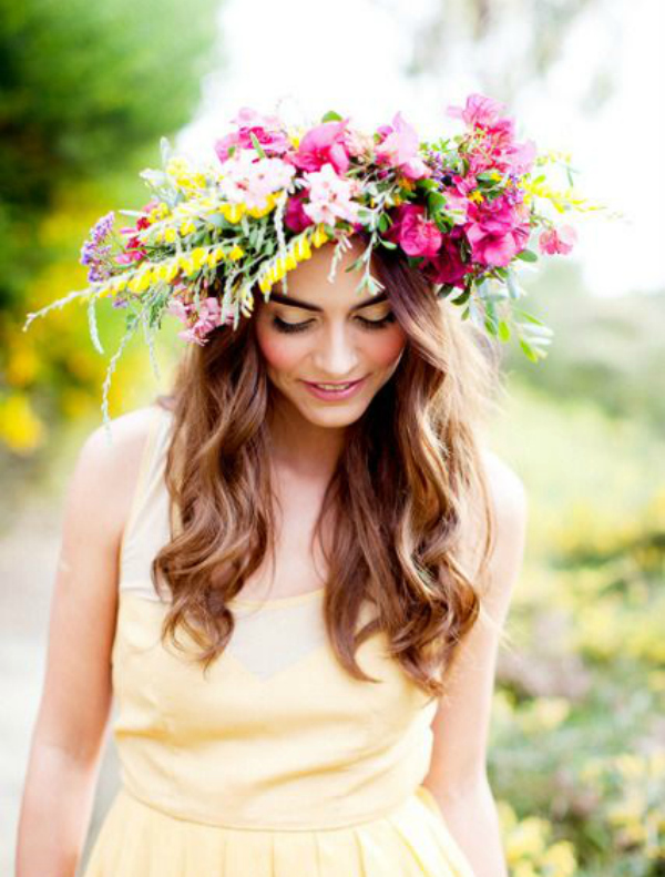 beach wedding hairstyle boho style flower hair crown colourful