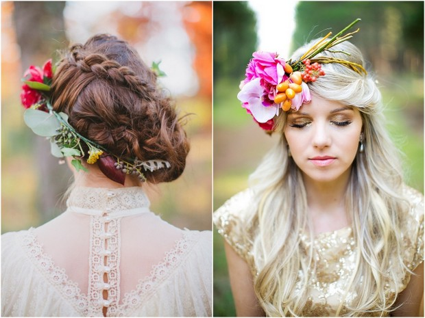 wedding hair fresh flowers crown spring