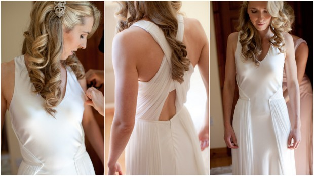 modern wedding dress with wrap back