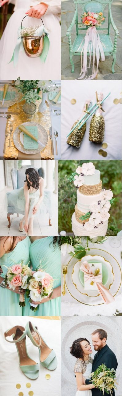 Mint Gold Pink Palette Fabulously Fresh Modern Spring Wedding