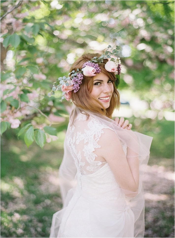 pastel-boho-flower-wedding-crown-wedding-hairstyle