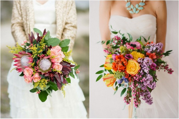 colourful statement wedding bouquet trend 2014