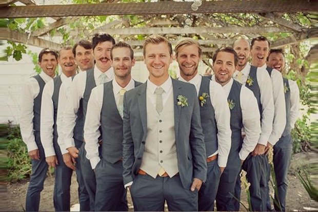 Groomsmen In Green And Mint Wedding Suits