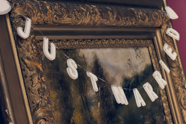 just married sign on antique mirror
