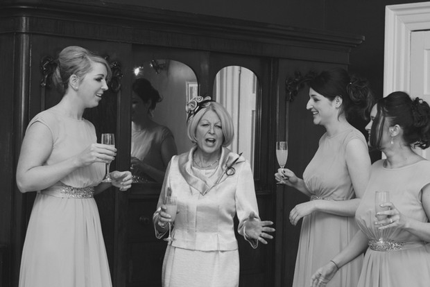 mother of the bride bridesmaids champagne
