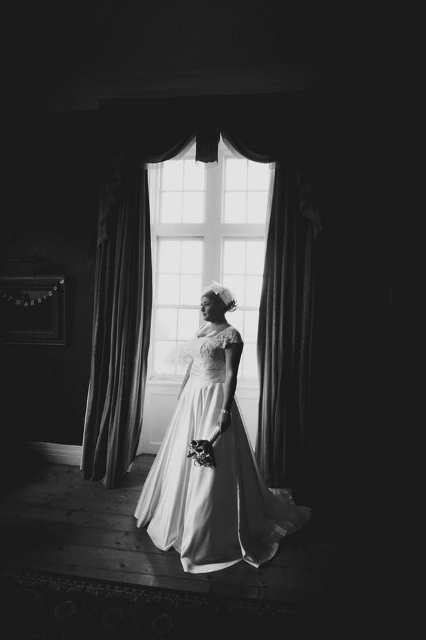 black and white bride window