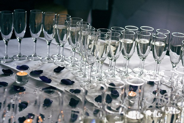 champagne glasses wedding reception