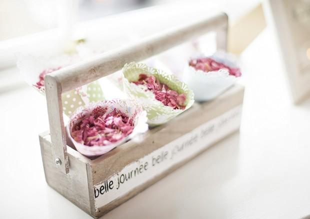 pink wedding confetti in white cones