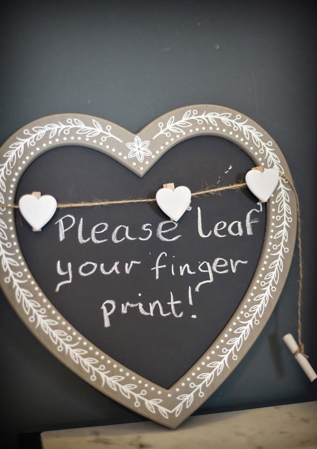 chalkboard wedding sign finger print tree