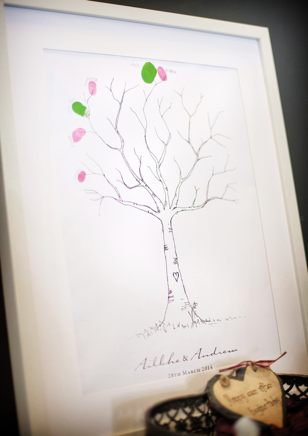 wedding guest book alternative finger print tree