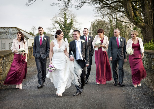 maroon bridesmaids dresses long