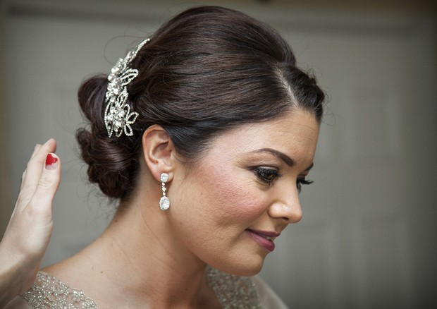 classic wedding up do hair comb