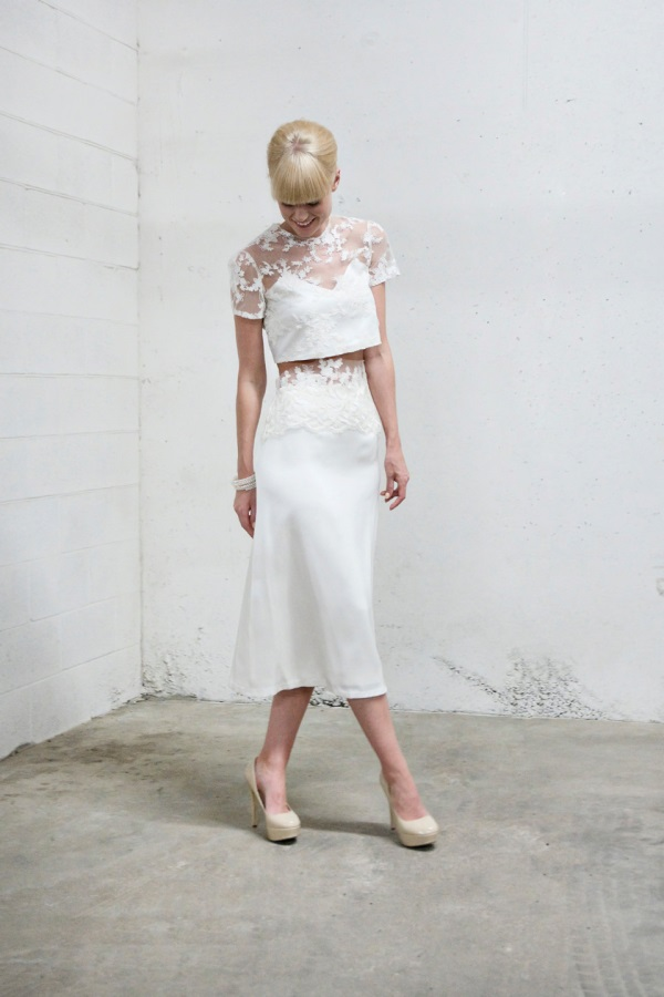 Anya Dione High Waisted Lace Band Skirt