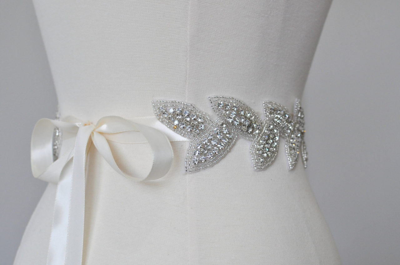 10 beautiful bridal sashes belts to make your dress for Wedding dress belt sash