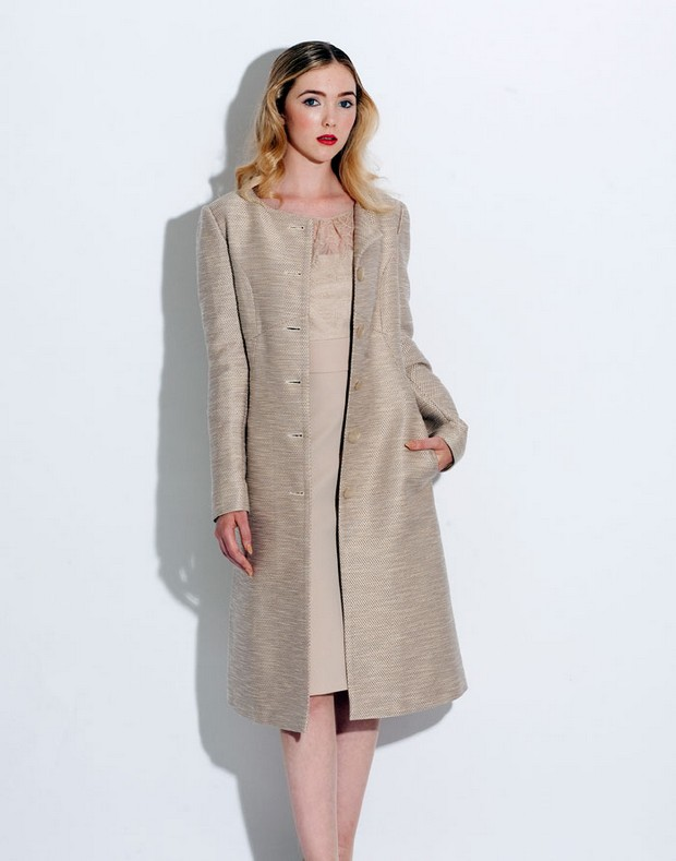 Caroline Kilkenny Beige Dress Jacket Formal Summer 2017