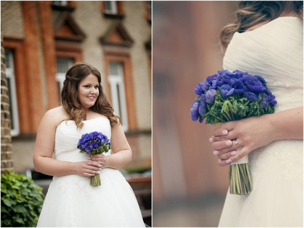 bride with blue wedding bouquet