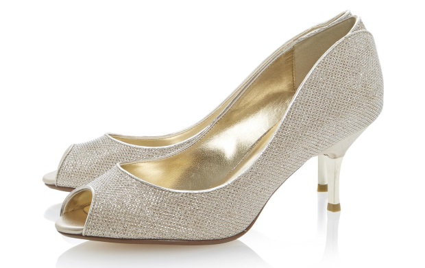 Gold Peep Toe Low Heel