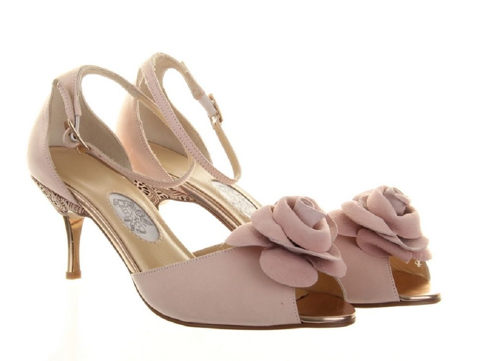 Low Heel Blush Wedding Shoes Fl