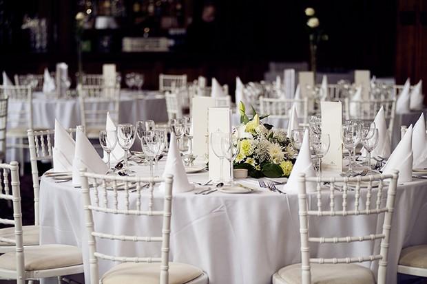 white wedding decor tables