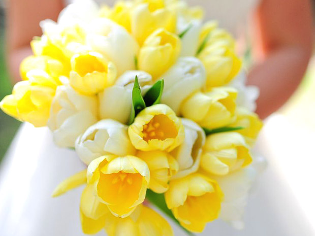 White and yellow tulip bouquet via stylemepretty comYellow Tulip Bouquet