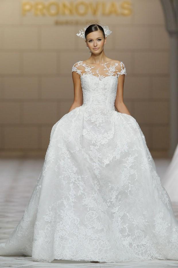 pronovias-2015-applique-sheer-neckline-wedding-dress