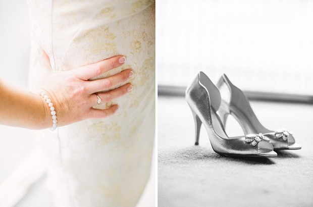 gold silver wedding details shoes