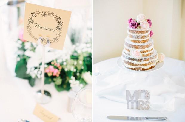 exposed sponge wedding cake pink flowers
