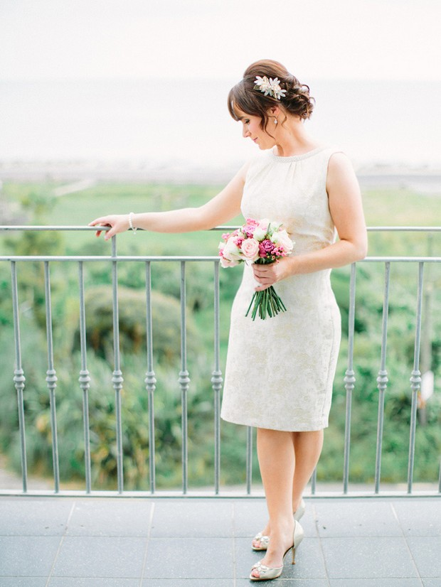 classic bride in short wedding dress