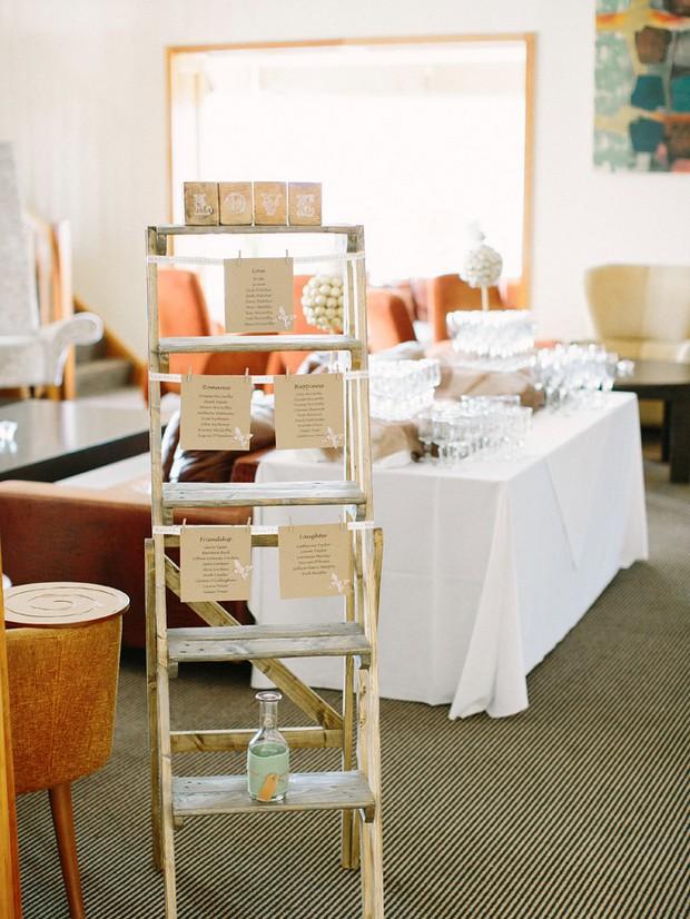 alternative wedding table plan display ladder