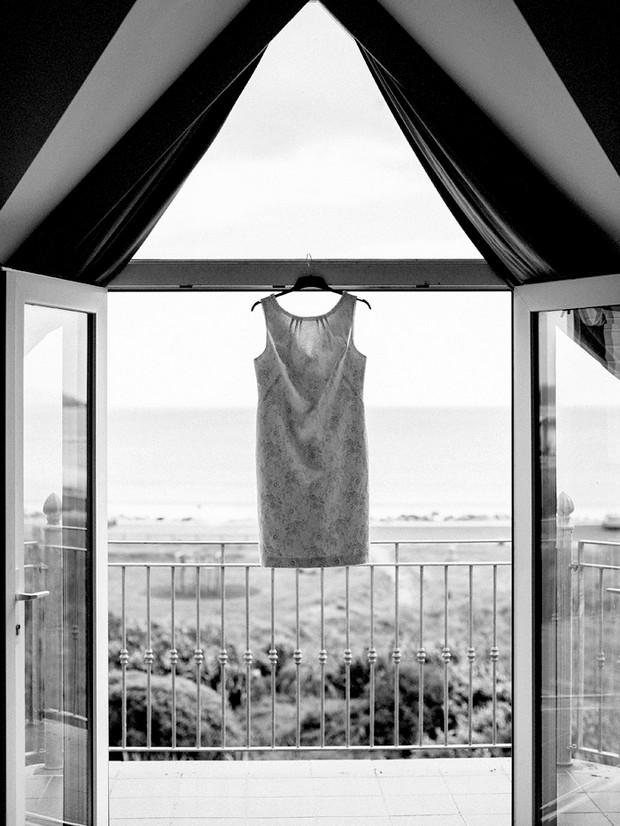 short shift wedding dress hanging
