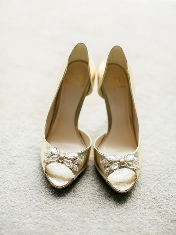 gold peep toe jenny packham wedding shoes