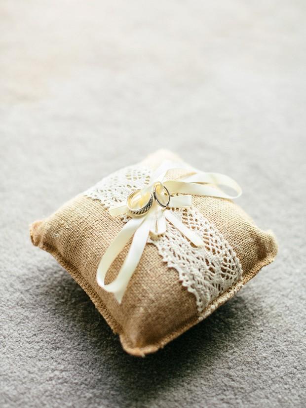 rustic burlap wedding ring pillow