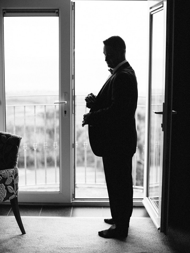 black and white portrait groom